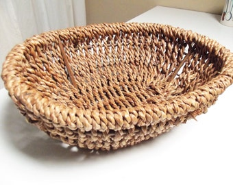 Chunky vintage French basket, beautiful hand woven basket, rustic display, storage basket, quality basket