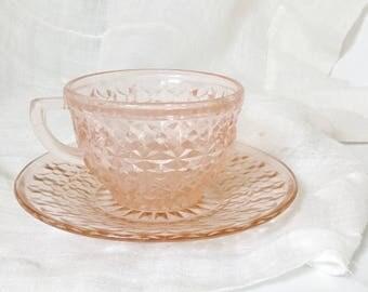 Pink Glass Teacup, Vintage Rose Glass Tea Cup, Rosaline Glassware, Rosaline Teacup, Vintage Pink Teacup