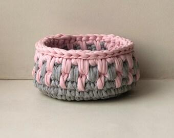 basket pink and grey