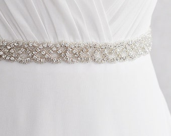 Wedding Dress Belt sash, Wedding dress Belt, Rhinestone Belt, Crystal Sash, Hand Sewn  003