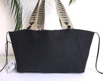 Black linen tote bag reversible by origine creation