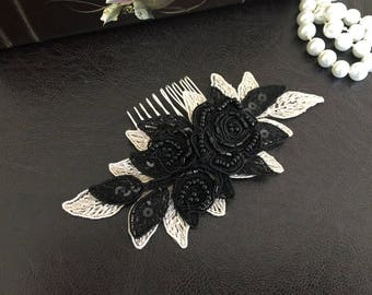 Bridal Hair Accessories, Wedding Head Piece, Champagne and Black Beaded Lace, Comb, Snap Clip