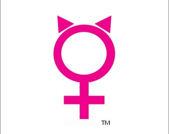 "Decal of Female Symbol with ""Pussy Hat"""
