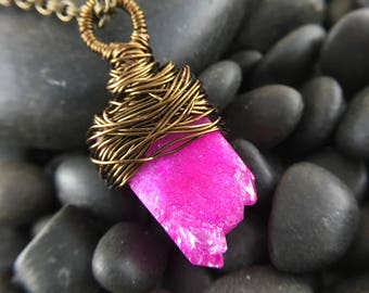Pink Agate Stone Wire Wrapped Pendant
