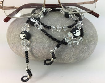 Yin Yang Glasses Chain Black & Clear Glass Spectacle Holders Lanyard Mother's Day gift