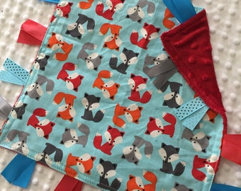 Personalized Tag Blanket Sensory Ribbon Blanket Lovey- Urban Zoology Foxes with Minky Dot