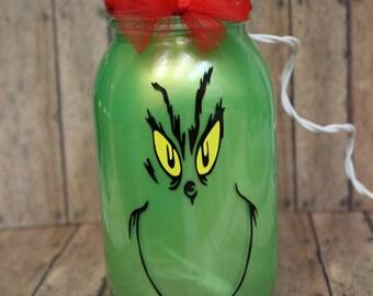Inspired Grinch Lantern, 32 oz,quart size mason jars, tea light/christmas lights included