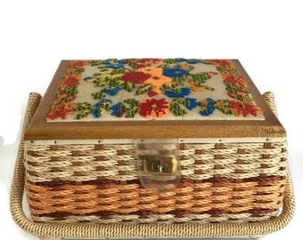 Sewing Supply Organizer, Craft Box, Craft Storage, Craft Organizer, Sewing Basket Rattan Sewing Box with Needlepoint Sewing Notion Storage,