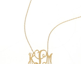 Large Gold Plated Monogram Filigree Necklace - Interlocking Collection