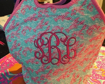 Lilly Pulitzer inspired monogram lunch bag! Lobstah roll inspired monogram lunch tote lunch bag