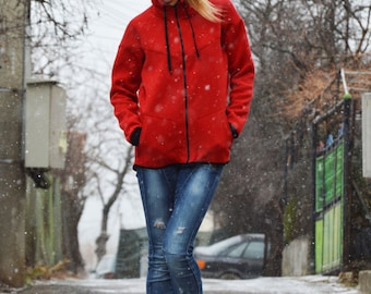 New Extravagant Red Hooded Sweater Jacket, Quilted Cotton Zipper Hoodie, Red Sweatshirt Side Pockets by SSDfashion