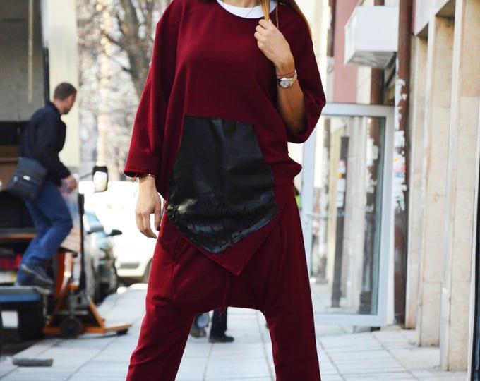 Womens Burgundy Set, Loose Sport Pants, Asymmetric Maxi Sweatshirt, Extravarant Combo Set, Drop Crotch by SSDfashion