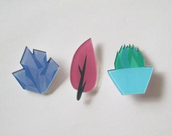 Handmade badge pin crystal plant tree acrylic