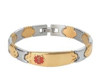 Elegant PVD G/S 316L Medical Alert Bracelet for Women -TP Red- Free Engraving, Wallet Card, Apps- 6880GTRRE