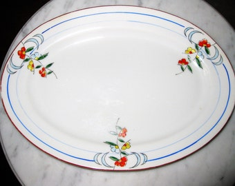 Vintage Japan Handpainted Porcelain Midcentury Platter Floral Orange