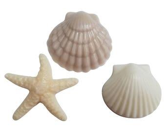 Nautical Handmade Soaps-Sea Shell soaps-Wedding Favors- Party Favors-3 Sea Shell Soaps wrapped in Natural Handmade Rope bag with hangtag