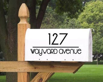 Mailbox Decal Simple Modern- Personalized with 23 color choices! - simple modern, modern mailbox, mailbox lettering, mailbox sticker