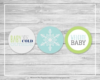 Winter Baby Shower Cupcake Toppers - Printable Baby Shower Cupcake Toppers - Baby It's Cold Outside Baby Shower - Cupcake Toppers - SP142