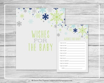 Winter Baby Shower Wishes for Baby Cards - Printable Baby Shower Wishes for Baby Cards - Baby It's Cold Out Baby Shower - Baby Wishes- SP142