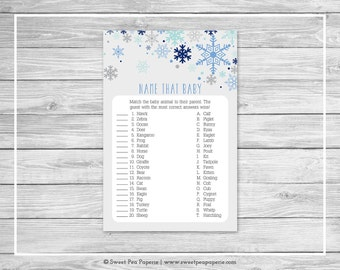 Winter Baby Shower Name That Baby Game - Printable Baby Shower Name That Baby Game - Baby It's Cold Outside Baby Shower - Baby Game - SP144