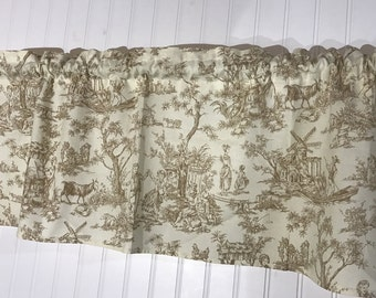 cream and brown french country toile Curtain Valance