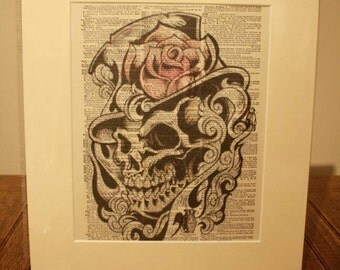 """Ideal gift, Dictionary art print skull and top hat printed on 1907 dictionary sheet in a 12"""" x 14"""" cream mount."""