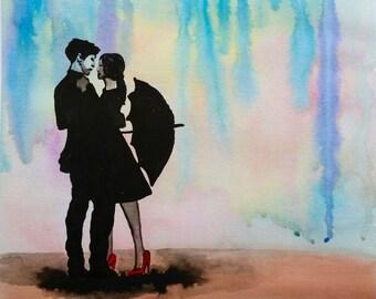 """Original watercolor love 11""""x15"""