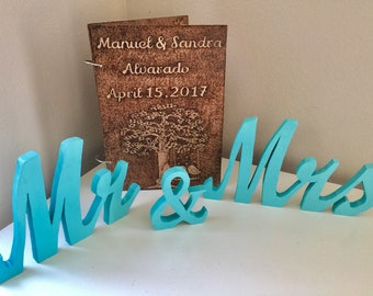 Pair of turquoise Mr & Mrs wood signs wedding sweetheart table decor wood signs cut out wooden letters Mr and Mrs Table decor