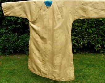 Dragon Robe Chinese Antique Silk Woven Damask Yellow Gold