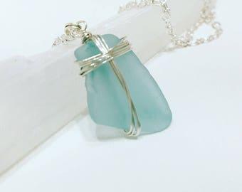Robin's egg blue seaglass necklace