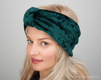 Green Velvet Turban Headband