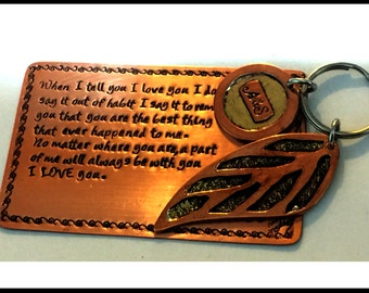 8th Anniversary Gift, Wallet insert Keychain Set , Personalized Wallet Insert, keychain Set, Copper Wallet Insert, Unique Gift For Couples,