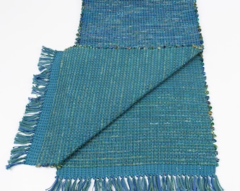 Handwoven Table Runner in Teals and Blues  Cotton/Cotton Batik