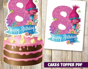 Trolls cakes toppers 8th instant download, Printable Trolls party Cakes Topper 8th, Logo Trolls Party, Trolls  Cakes Topper 8th