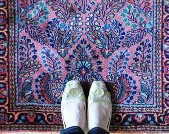 Vintage sarouk Persian runner rug, floral pink Persian rug, hallway runner rug,