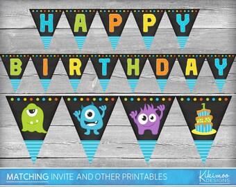 Monster Happy Birthday Banner | Monster Birthday Banner | Monster Banner | Monster Birthday Printables | Monsters Printable Birthday Banner