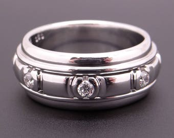 Handsome 18k White Gold .50ct Round Cut Diamond 9mm Wedding Band Spinner Ring Size 8