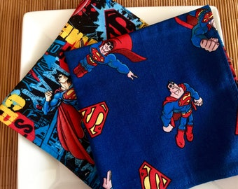 Superman Lunchbox Napkins, Reversible Cloth Napkins for Kids & the Kid in You. Navy Blue, Red, Comic Book Cotton. Reusable, Eco Friendly.