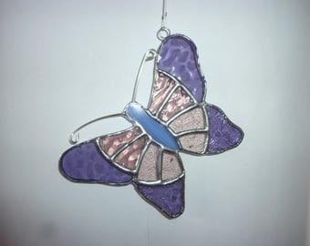 Stained glass Butterfly suncatcher,Purple butterfly suncatcher.Butterfly suncatcher.