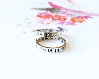 ON SALE White Gold Roman Numerals Ring Diamond Band Multifinger Couple Ring Valentine's Wedding Bridal Anniversary Birthday Gift Not Persona