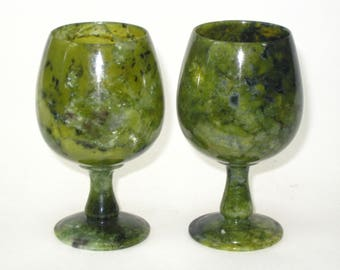 Pair of Chinese Spinach Jade Translucent Footed Cups Shot Wine Liqueur Cordial Glasses