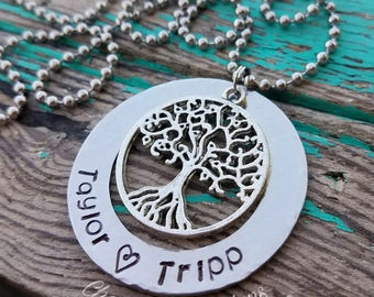 Family Tree Necklace, Hand Stamped Necklace, Tree Charm, Tree Necklace, Custom, Personalized, Gift, Name, Engraved, Silver, Tree of Life