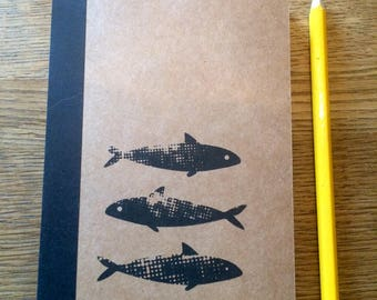Original, hand printed, A6 screen print notebook. Nature theme screen prints - dandelion, ribwort, fish, Lined notebook