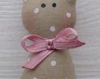 Tan Pink polkadot Bubago keyring kitty