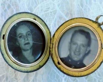 Vintage Gold Filled Monogrammed Locket with Pictures