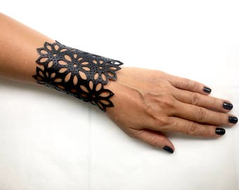 rubber bracelet hand cut from reclaimed rubber