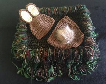 Bunny Newborn Photography Prop, Rabbit Photo Prop, Infant Photography Prop, Brown Bunny Crochet Outfit, Bunny Diaper Cover Set