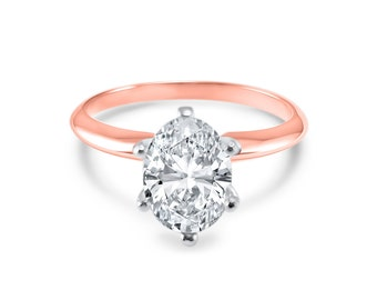 Rose Gold Moissanite Near colorless engagement ring -  6 prong traditional solitaire engagement ring- Oval engagement ring SR6M00OR04