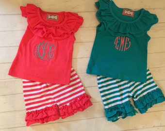 SALE SUMMER BLOWOUT!Toddler girls ruffled tank top and ruffled shorts in coral and teal , girls ruffled tank tops with ruffled short sets