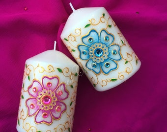 Set of 2 Decorative Candles, Boho Wedding, Spring Decor, Spring Centerpiece, Moroccan Decor, Boho Decor, Boho Party Favor, Boho Room Decor
